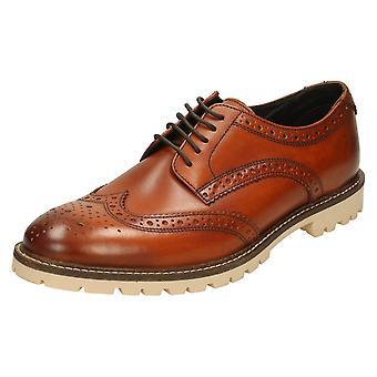 Mens Base London Formal Shoes Raid - Washed Tan Leather - UK Size 8 - EU Size 42 - US Size 9