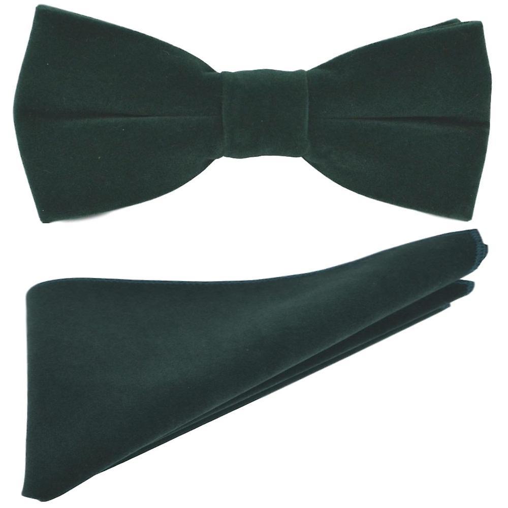 Luxury Dark Green Velvet Bow Tie & Pocket Square Set