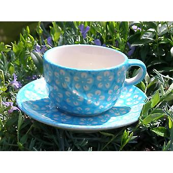 Cup with saucer, Bolesławiec turquoise, BSN m-4244