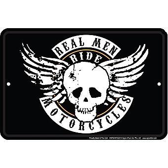 Настоящие мужчины ездить мотоциклы смешные алюминий знак