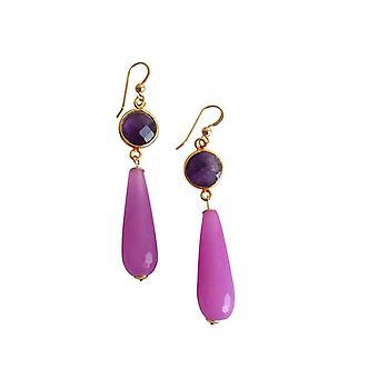 Gemshine korva korut kullattu Jade Amethyst vihreä violetti violetti PARTY DROPS