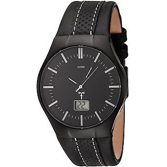 Men's Wristwatch Radio Radio Watch Stainless Steel Leather Strap Black Men's Watch Date