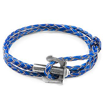 Anchor & Crew Royal Blue Union Anchor Silver And Braided Leather Bracelet