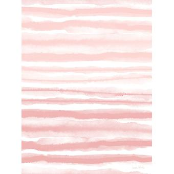 Pink Watercolor Waves Poster Print by Linda Woods