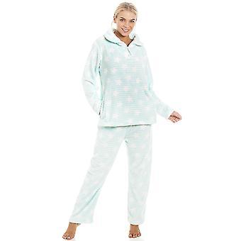 Camille Mintun vihreä kätevää Velour Fleece valkoinen tähti tulosta Pyjama setti