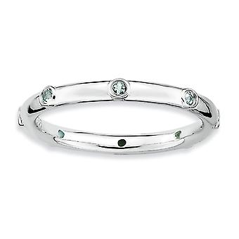 925 Sterling Silver Bezel Polished Rhodium plated Stackable Expressions Aquamarine Ring Jewelry Gifts for Women - Ring S