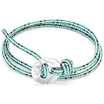 Anchor and Crew Lerwick Silver and Rope Bracelet - Green Dash