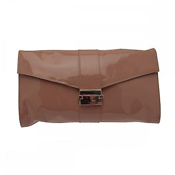 Sachelle Coutute Oversized Patent Clutch Bag With Buckle