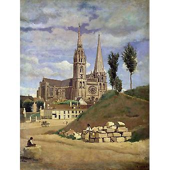 La Cathedrale de Chartres, Jean Baptiste Camille Corot, 50x40cm