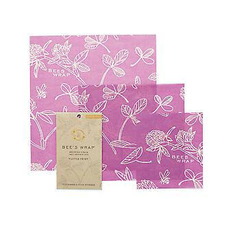 Set of 3 Assorted Beeswax Wraps, Clovers