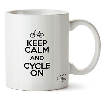 Hippowarehouse manter calma e ciclo na caneca impressa xícara de cerâmica 10oz