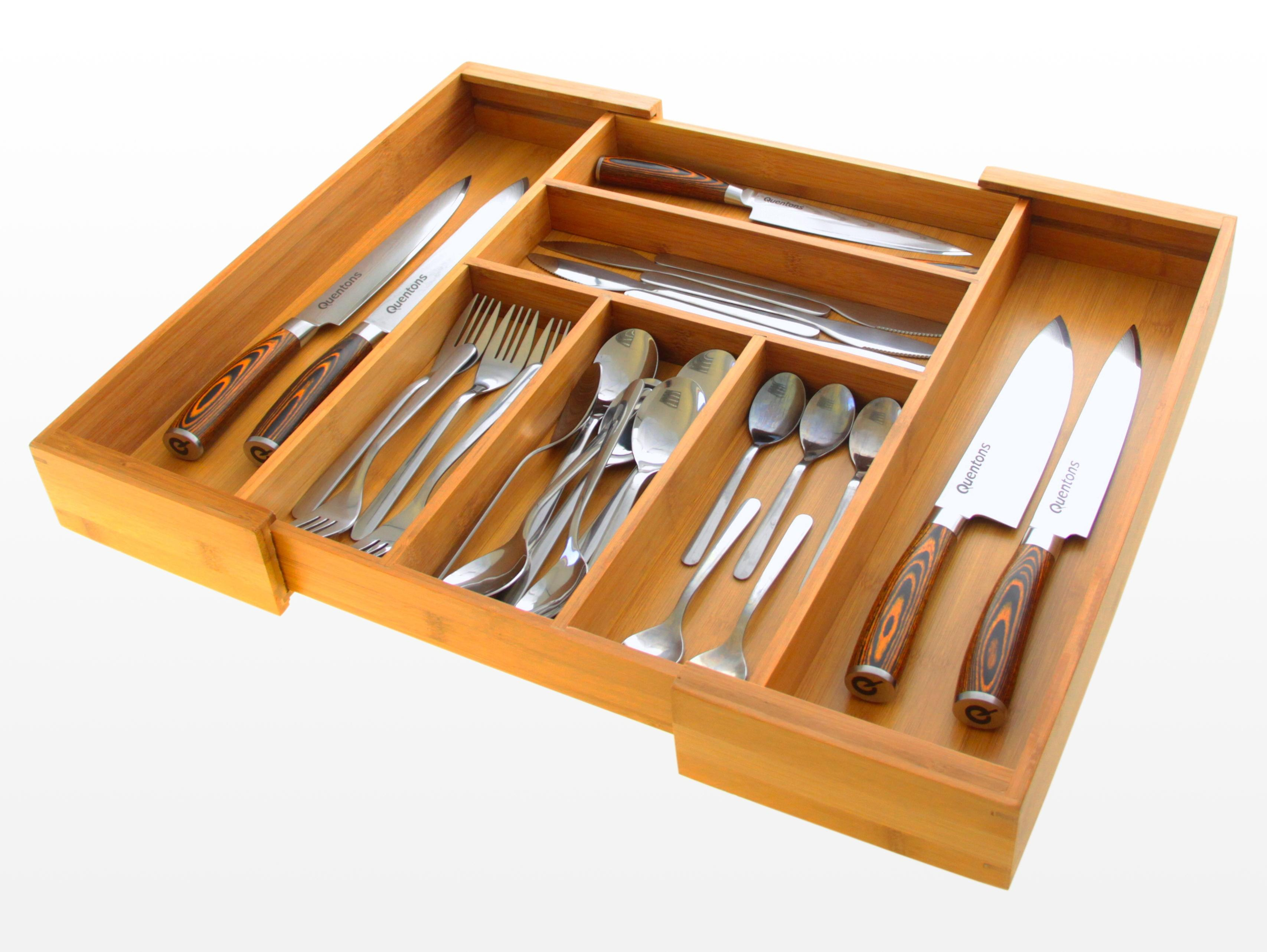 Woodquail Bamboo Expandable Kitchen Cutlery Flatware tray, Drawer Inserts Organizer 33-56.5cm