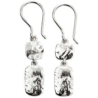 Doppel-Drop Anfänge gehämmert Ohrringe - Silber