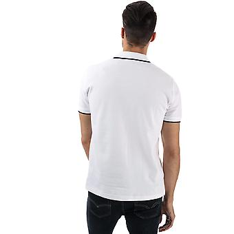 Mens Ben Sherman Tipped Pique Polo Shirt In White- Short Sleeve- Ribbed Cuffs