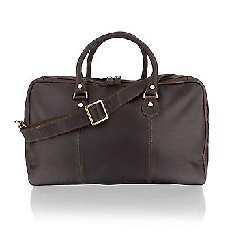 """Medium Travel Holdall 20.0"""" Multi Pocket Adjustable Shoulder Strap - Brown"""