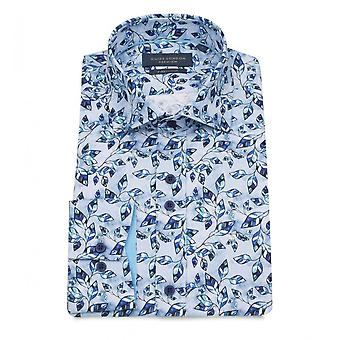 Guide London Blue Shades Leaves Print Pure Cotton Long Sleeve Mens Shirt
