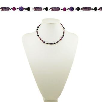 Evig samling Mulberry lilla rosa og svart krystall 18 tommers Gunmetal Beaded halskjede
