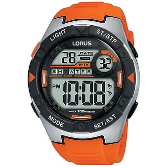 Lorus | Mens Sports digital | Cinta de borracha alaranjada | R2303NX9 assistir