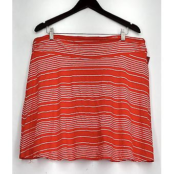 Merona Skirt Pull On Rounded Hem Striped A-Line Style Orange/ White