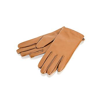 Ladies Tan Side Slit Leather Gloves