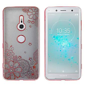 Sony XZ2 Compact Case Flowers Rose Gold - Backcover Clear Bumper Look