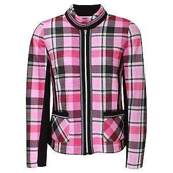 Just White Pink Plaid Print Zip Up Jacket