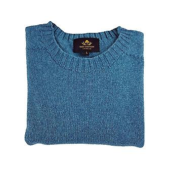 Wool x cotton blend crew neck jumper - kingfisher