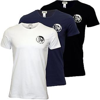 דיזל 3-Pack מתיחה כותנה הצוות-צוואר טריקו חולצות, שחור/לבן/חיל הים