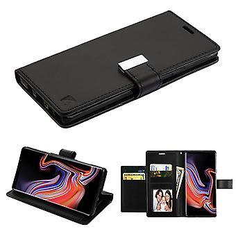 ASMYNA zwart/zwart PU lederen MyJacket portemonnee met extra kaartsleuven (GE031) voor Galaxy Note 9