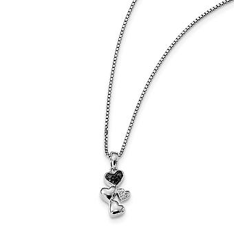 925 Sterling Zilver gepolijst Prong set Open back Gift Boxed Spring Ring Rhodium verguld wit en zwarte diamant Love Hear