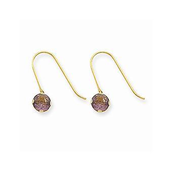 14k geelgouden herder haak synthetische amethist (feb) long drop bungelen oorbellen sieraden geschenken voor vrouwen