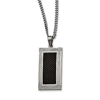 Roestvrij staal gepolijst Gegroefde zwarte koolstofvezel ketting 24 inch sieraden geschenken voor vrouwen