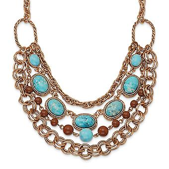 Fancy Lobster Closure Copper tone Aqua and Brown Beads Multistrand 16inch With Ext Necklace Jewelry Gifts for Women