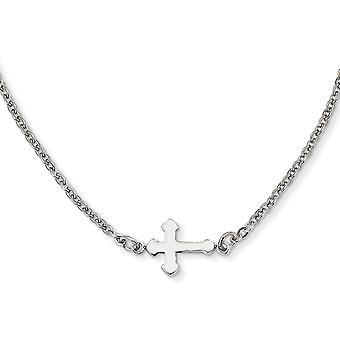 Stainless Steel Fancy Lobster Closure Polished Sideways Religious Faith Cross 18inch Necklace 18 Inch Jewelry Gifts for