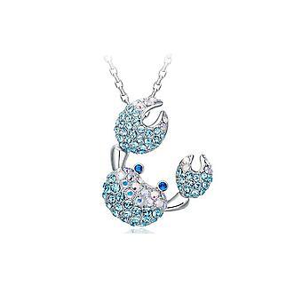 Blue Swarovski Crystal Ornate Crab pendant and Rhodium 2124 Plated