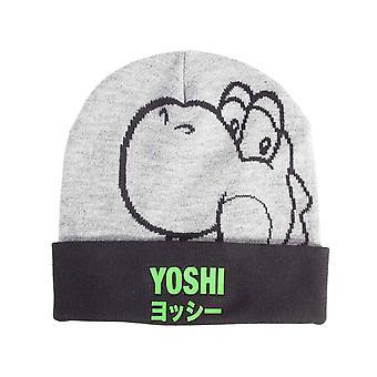 Super Mario Beanie Hat Yoshi Japanese Logo new Official Nintendo Grey