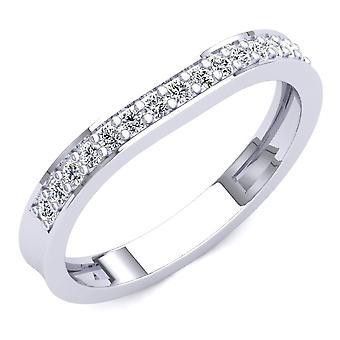 Dazzlingrock Collection 0.20 Carat (ctw) 14K Round Diamond Stackable Wedding Contour Guard Band 1/5 CT, White Gold