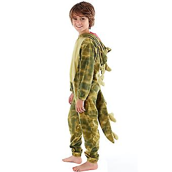 ONE07 Pojkar Kids Hooded dinosaurie Fleece alla i en nattkläder Babypyjamas Jumpsuit