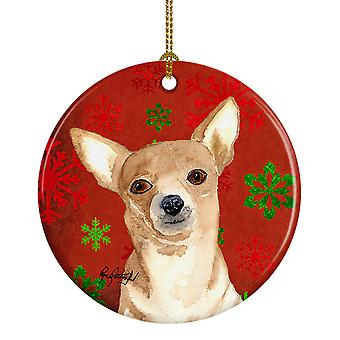 Carolines Treasures  RDR3012CO1 Red Snowflake Chihuahua Christmas Ceramic Orname