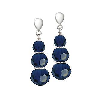 Eeuwige collectie Trinity Dark Indigo Blue Crystal zilveren Toon drop schroef terug clip op oorbellen