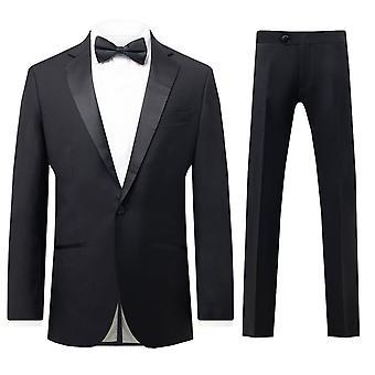 Dobell mens zwart 2 stuk Tuxedo regular fit 1 knop inkeping revers