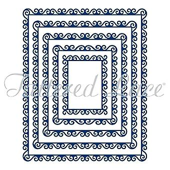Tattered Lace Swirl Edge Rectangles, Silver