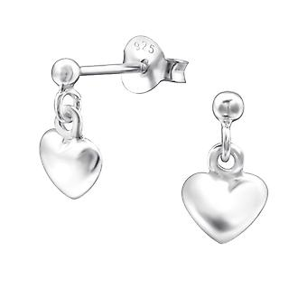 Heart - 925 Sterling Silver Plain Ear Studs - W6365x