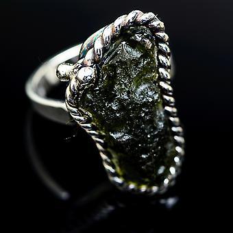 Czech Moldavite Ring Size 8 Adjustable (925 Sterling Silver)  - Handmade Boho Vintage Jewelry RING978158