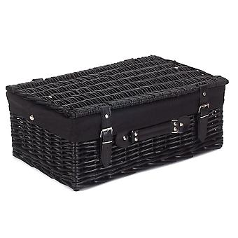 46cm Empty Black Willow Picnic Basket With Black Lining