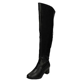 Ladies Spot On Wide Fitting Knee High Boots F51088
