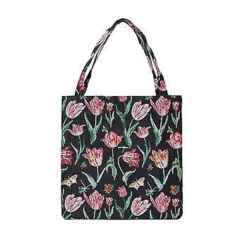 Marrel's tulip black shopper gusset bag by signare tapestry / guss-jmtbk