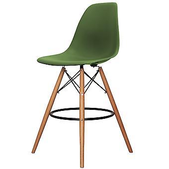 Charles Eames Estilo Emerald Green Plastic Bar Stool