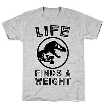 Life finds a weight grey t-shirt