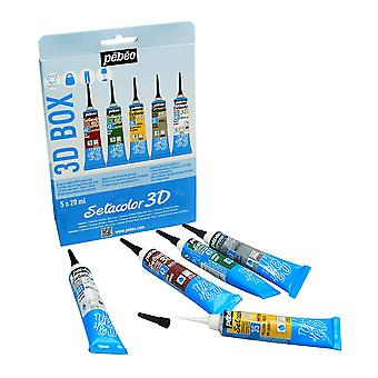 Pebeo Setacolor 3D Fabric Paint Set 5 x 20ml